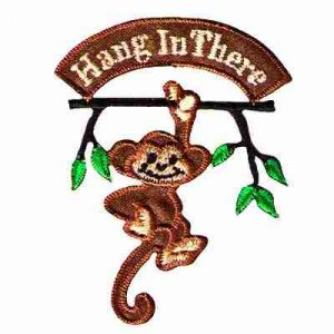 "Monkey - ""Hang in There"" Iron On Embroidered Patch Applique"