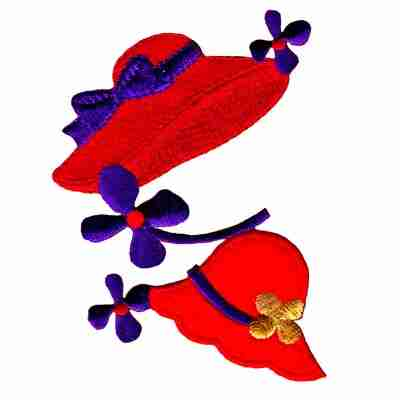 Red Hats and Flowers Iron On Red Hat Patch Applique
