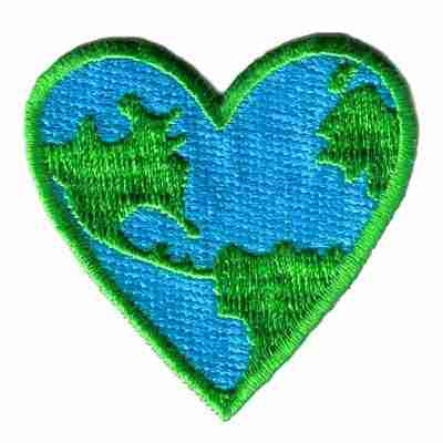 Blue-Green Earth Heart Iron On Ecology Patch Applique