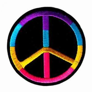 Rainbow Peace Sign on Black Felt Iron On Patch