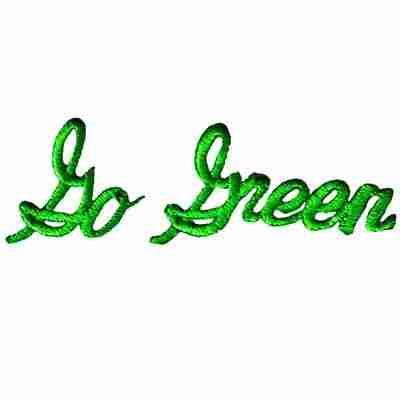 """Go Green"" Environmental Iron On Ecology Patch Applique"