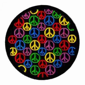 "Array of Peace Signs in 3"" Round Iron On Patch Applique"