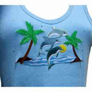 Sample 22 - 3 Dolphins in Beachy Tropical Scene - NOT FOR SALE