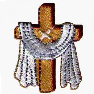 Jesus Cross with Robe Iron On Christian Patch Applique