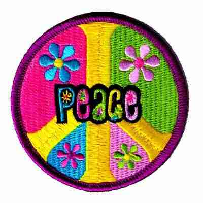 """Pastel """"Peace"""" in Peace Symbol Iron On Patch Applique"""