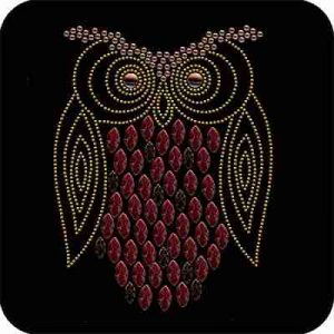 Birds - Owls - Owl Iron On Rhinestone on a black background