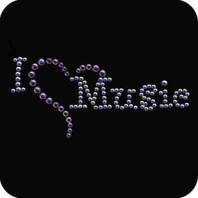 """I (Heart) Music"" Iron On Nailhead Applique"