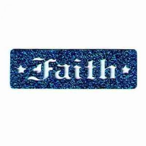 """Faith"" Cutout from Blue Glitter Iron On Religious Patch"