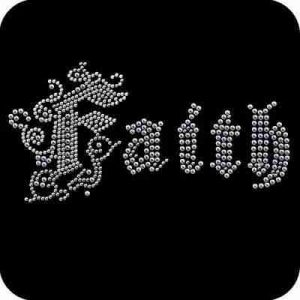 """Faith"" Iron On Metallic Nailhead Applique"