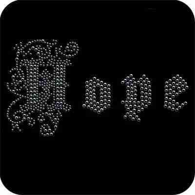 """Hope"" in Metallic Nailheads Iron On Applique"