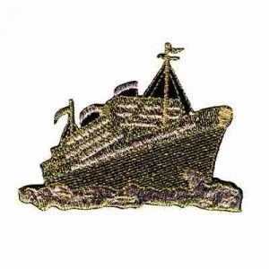 Cruise Ship in Metallic Gold at Sea Iron On Patch Applique