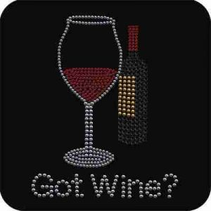 "Spirits - ""Got Wine?"" Iron On Rhinestone Applique"