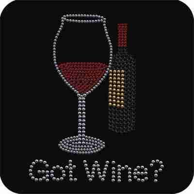 "Spirits - ""Got Wine?"" Iron On Rhinestone Applique"