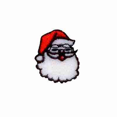 Christmas Small Santa's Head Iron On Patch Applique