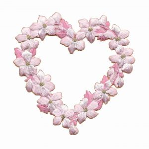 Floral Heart in PINK -LARGE- Iron On Patch Applique