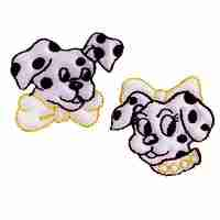 Dogs - Pair of Small Dalmatians Iron On Patch Appliques