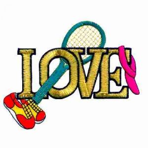 "Tennis - ""LOVE"" Tennis Gear Iron On Sports Patch Applique"