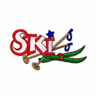 """/""""SKIING/"""" w//HAT /& SKIS- Iron On Embroidered Patch-Ski Winter Sports Words Snow"""