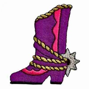 Purple & Pink Cowgirl Boots Iron On Western Patch Applique
