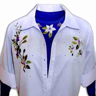 Sample 27 - Flowers on Vine Shirt Set - NOT FOR SALE