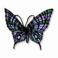 Butterflies - Cool Colors Embroidered Butterfly Iron On Patch Ap