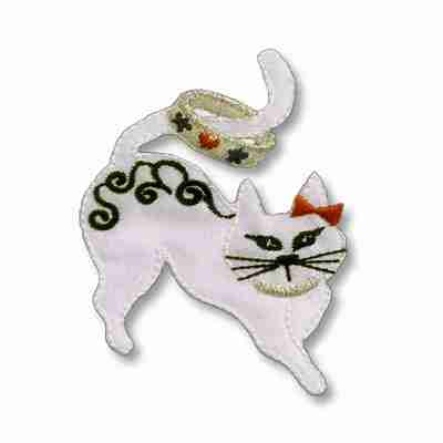 Cats - Satin Small Cat with Tail Ring Iron On Patch