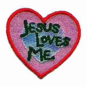 Jesus Loves Me Iridescent Heart Iron On Patch