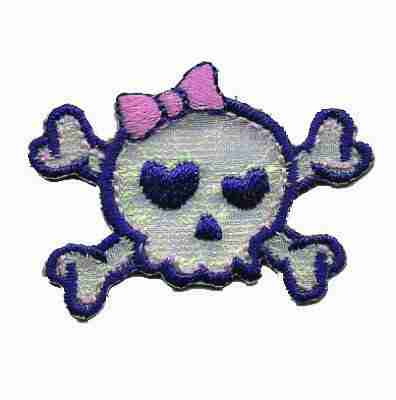 Iridescent Girly Skull Iron On Patch