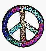 Cool Hues Sequin Peace Sign Iron On Patch