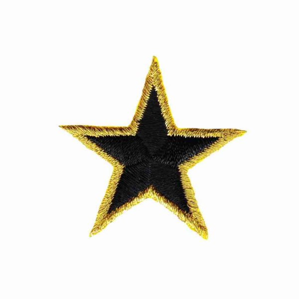 Gold-Trimmed-Star-Patches-1.5-inch-Black