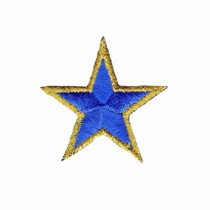 Gold-Trimmed-Star-Patches-1.5-inch Blue