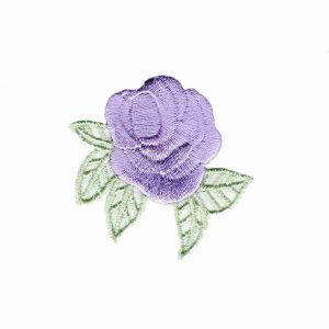 Small Pastel Rosebud Iron On Floral Applique - LAVENDER