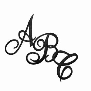 Embroidered Script BLACK Iron On Letters | LaughingLizards.com