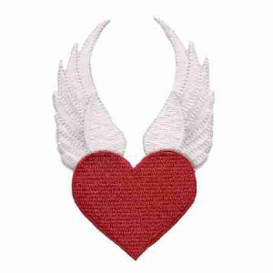 Iron on Winged Heart Patch - Red Heart Applique