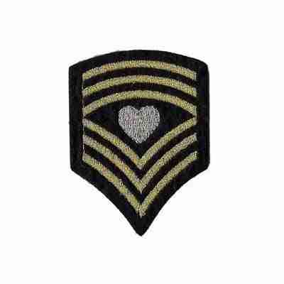 Sergeant Heart Chevron Iron On Patch Applique in BLACK