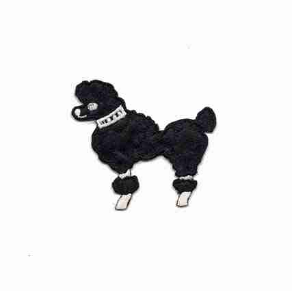 "Dogs - Poodle - 2-1/8""H Small Black Rt or Lt Facing Iron On Appl"
