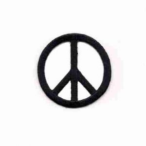 Embroidered Cutout Peace Sign in BLACK Iron On Patch Appliques