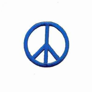 Embroidered Cutout Peace Sign in royal BLUE Iron On Patch Appliq