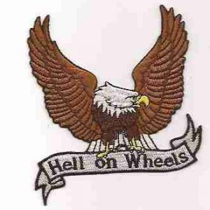 Hell on Wheels Eagle Iron On Biker Patch