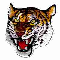 "Tiger's Ferocious Head (Large - 4-1/4""H) Iron On Patch Applique"