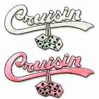 "Scripts - ""Cruisin"" Script Iron On Applique in Pink OR White"