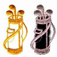 Golf - Metallic Golf Clubs in White/Gold OR Silver/Black Iron On