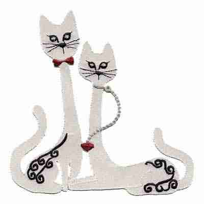 Cats - Satin Pair of White Long-Necked Cats Iron-on Applique