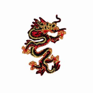 Dragons - Red/Black SMALL Asian Dragon Iron-On Embroidered Patch