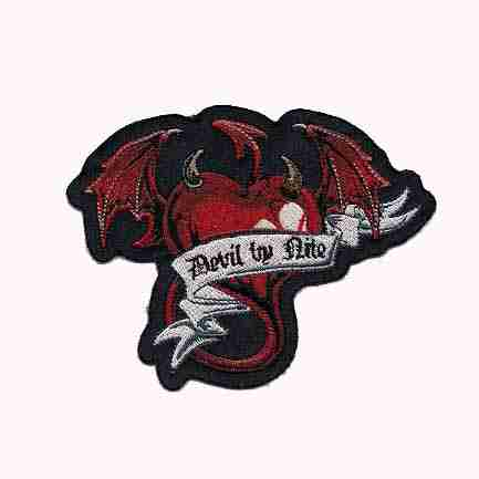 Devil By Nite Winged Heart Iron On Patch