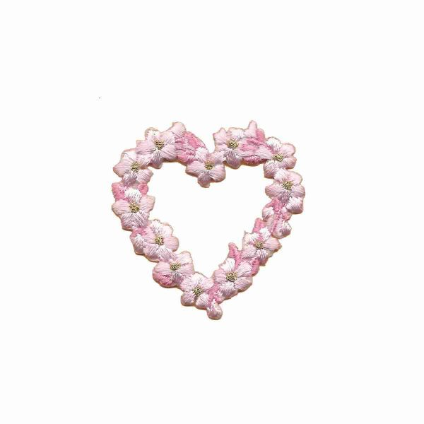 Floral Heart in PINK -SMALL- Iron On Patch Applique