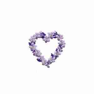 Floral Heart applique in PURPLE -SMALL- Iron On Patch