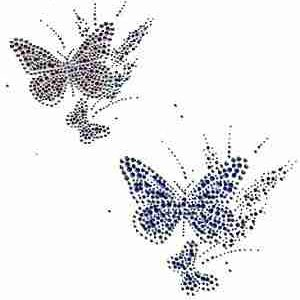 Butterflies - Double Butterflies In Blue or Pink Iron On Rhinest