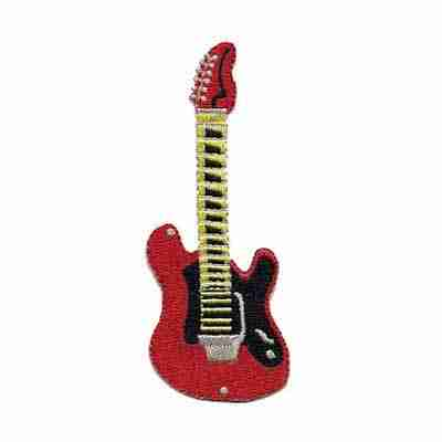 Guitars - Red Embroidered Guitar Iron on Patch