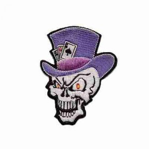 Evil Skull with Tophat and cards Iron on patch